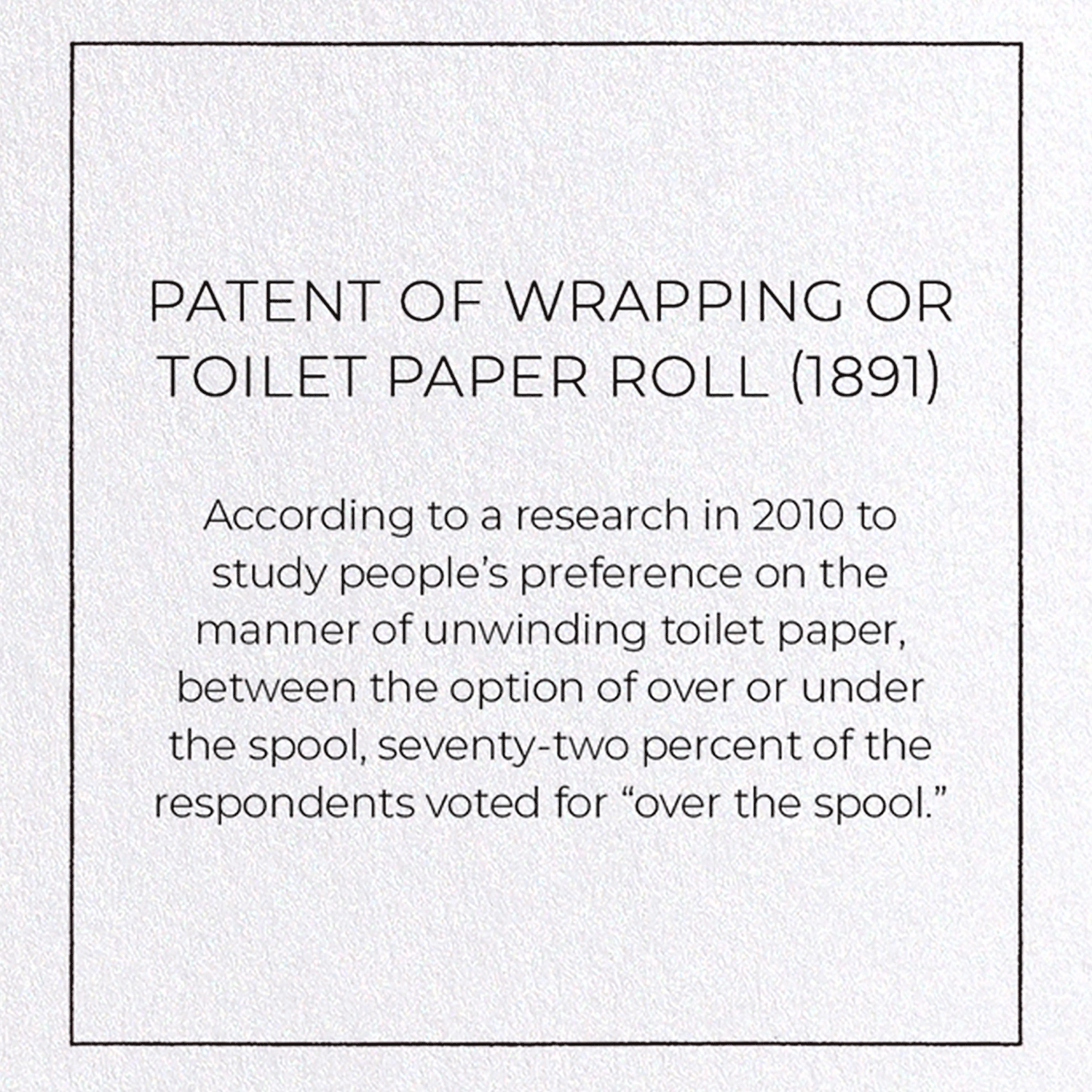 PATENT OF WRAPPING OR TOILET PAPER ROLL (1891): 8xCards