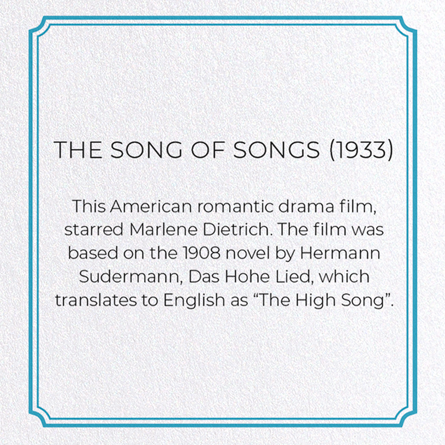 THE SONG OF SONGS (1933): 8xCards