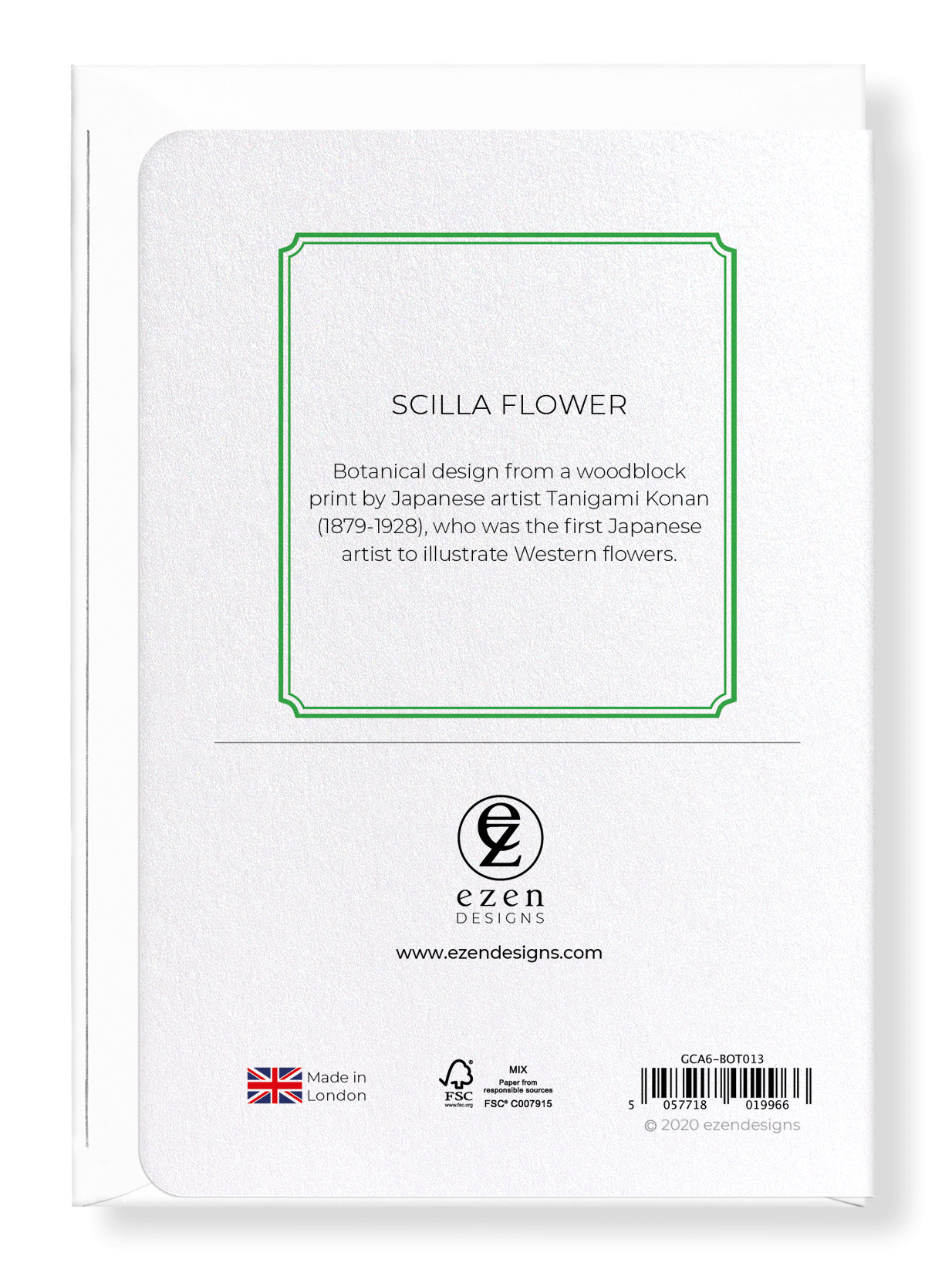 Ezen Designs - Scilla flower - Greeting Card - Back
