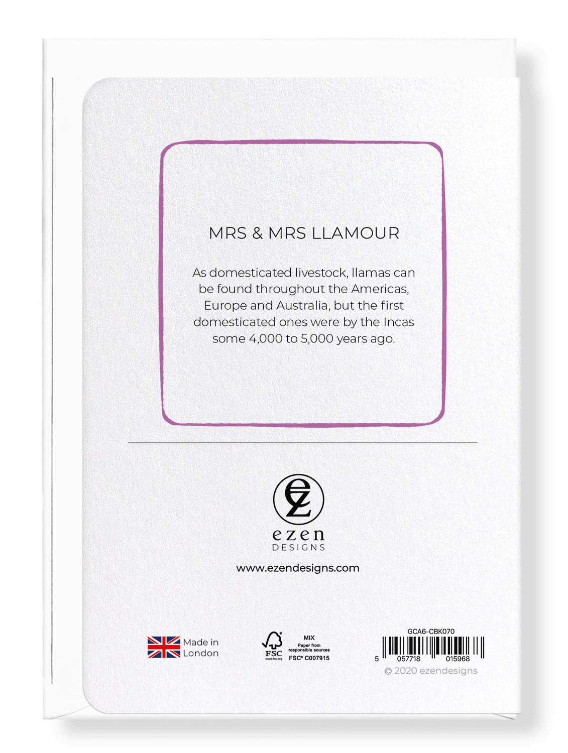 Ezen Designs - Mrs & mrs llamour - Greeting Card - Back