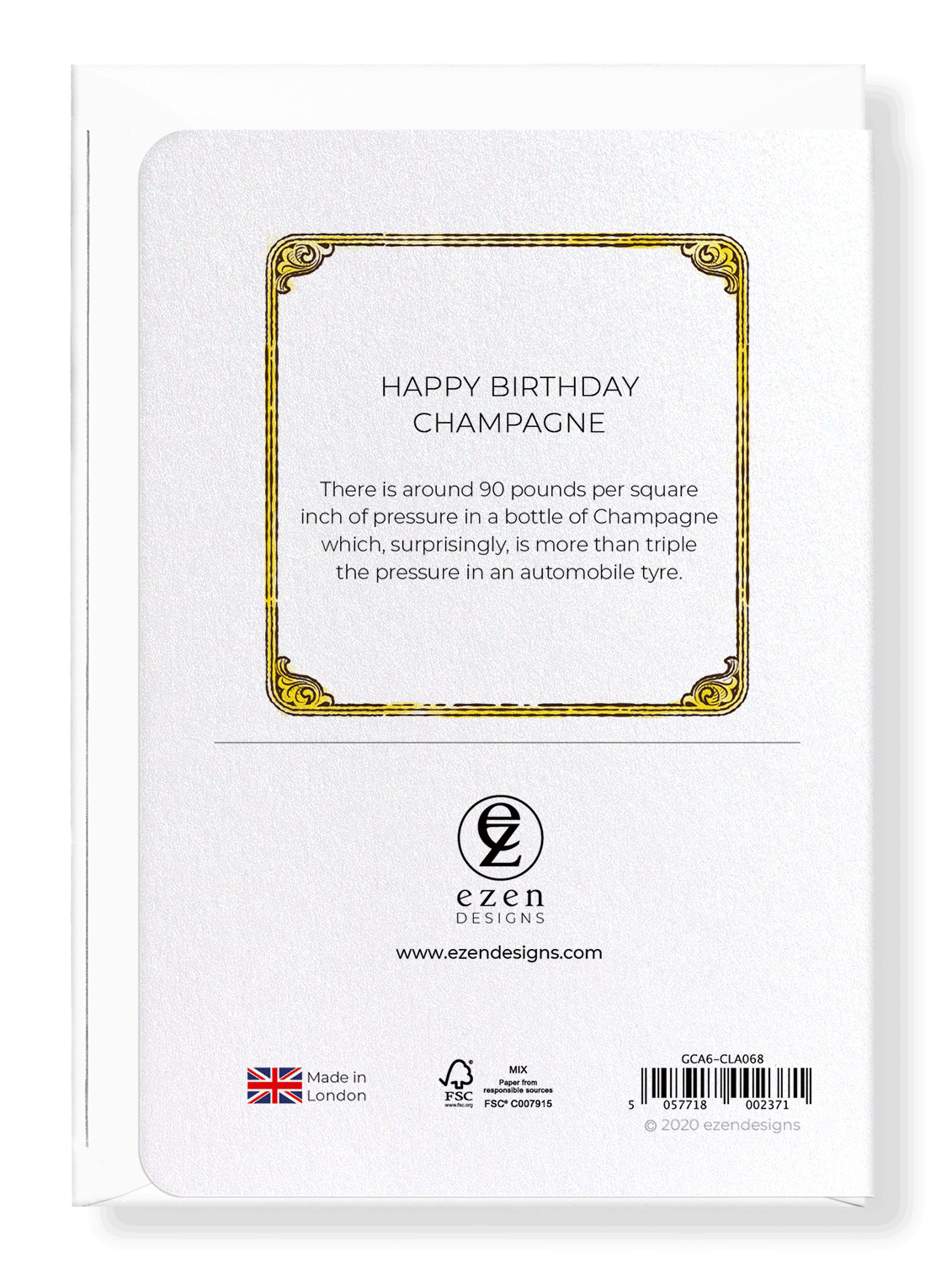 Ezen Designs - Happy birthday champagne - Greeting Card - Back