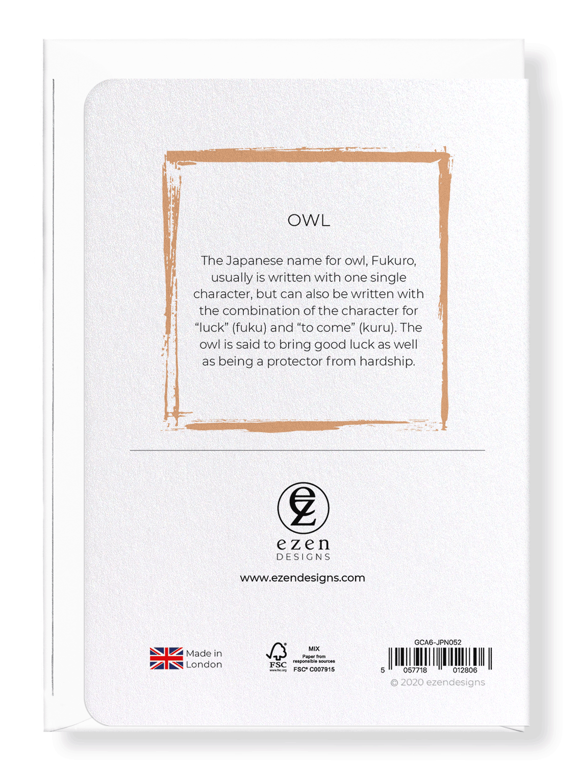 Ezen Designs - Owl - Greeting Card - Back