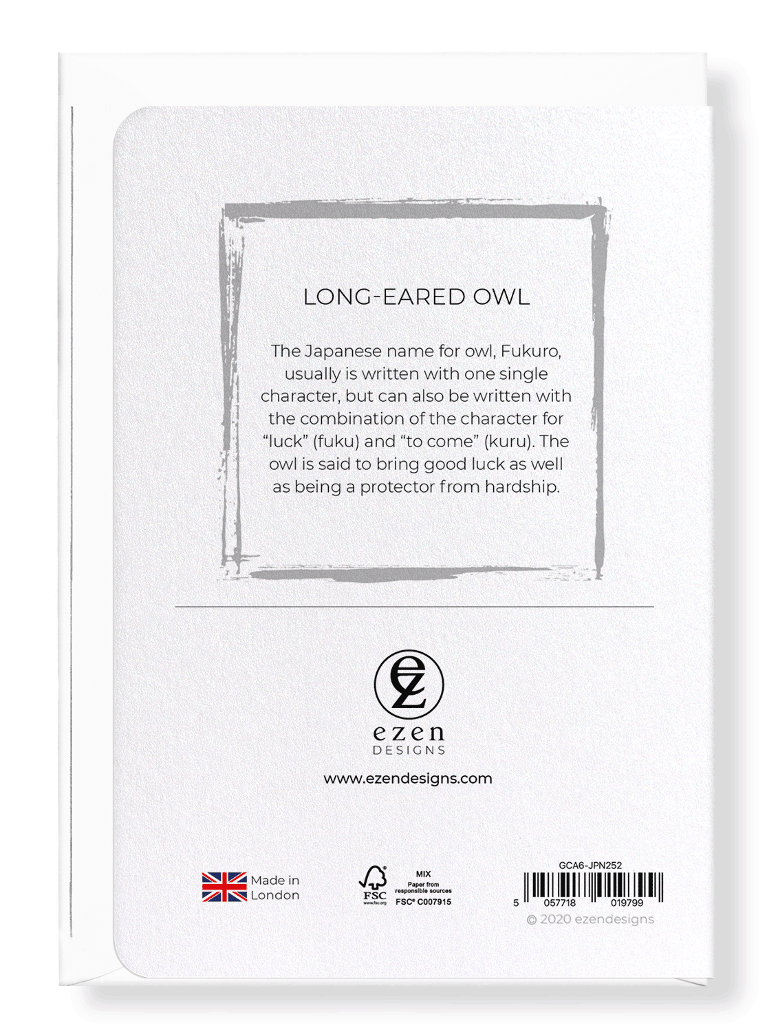 Ezen Designs - Long-eared owl - Greeting Card - Back