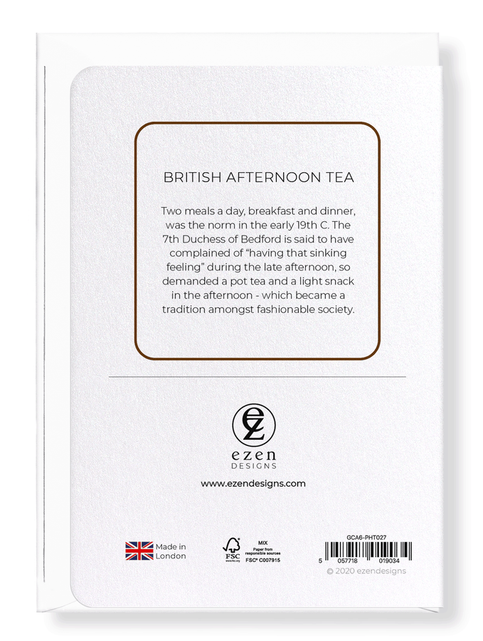 Ezen Designs - British afternoon tea - Greeting Card - Back
