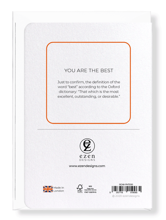Ezen Designs - You are the best - Greeting Card - Back