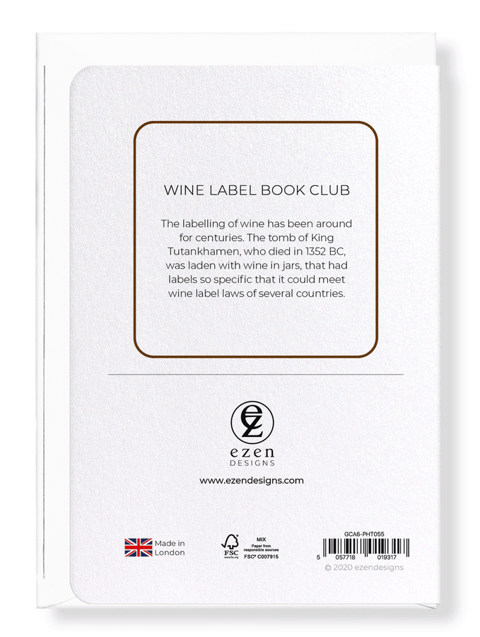 Ezen Designs - Wine label book club - Greeting Card - Back