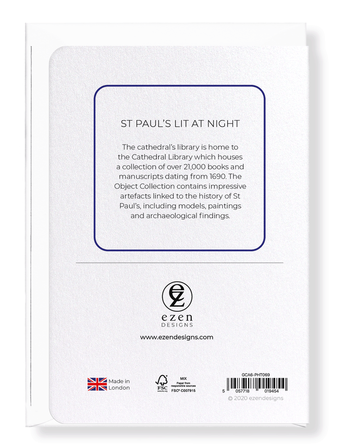 Ezen Designs - St paul's lit at night - Greeting Card - Back