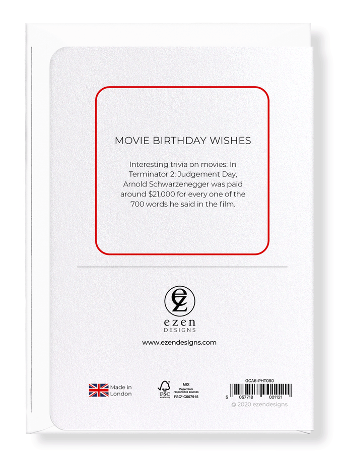 Ezen Designs - Movie birthday wishes - Greeting Card - Back