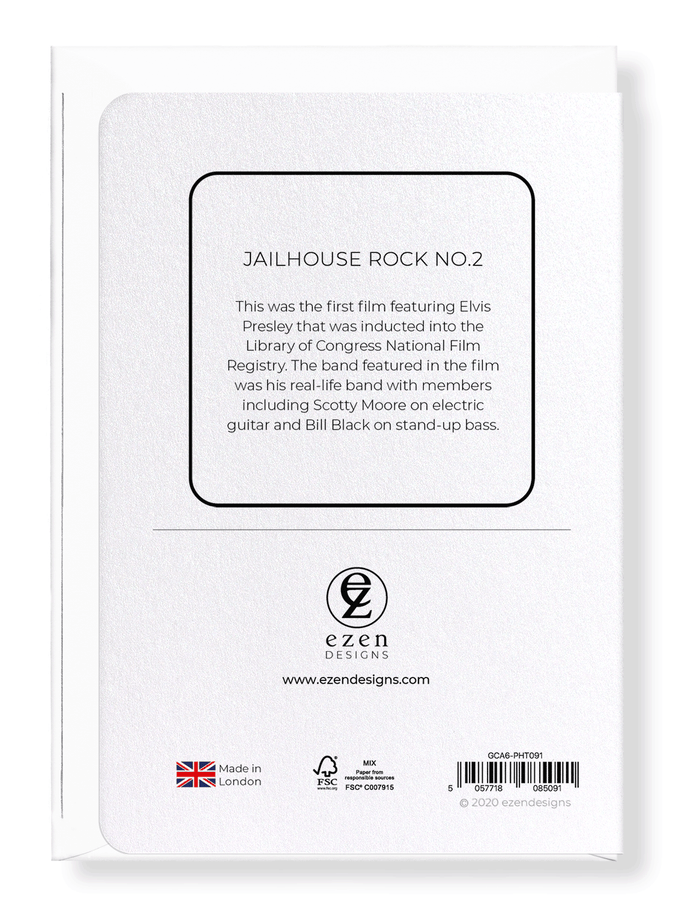 Ezen Designs - Jailhouse rock No.2 - Greeting Card - Back