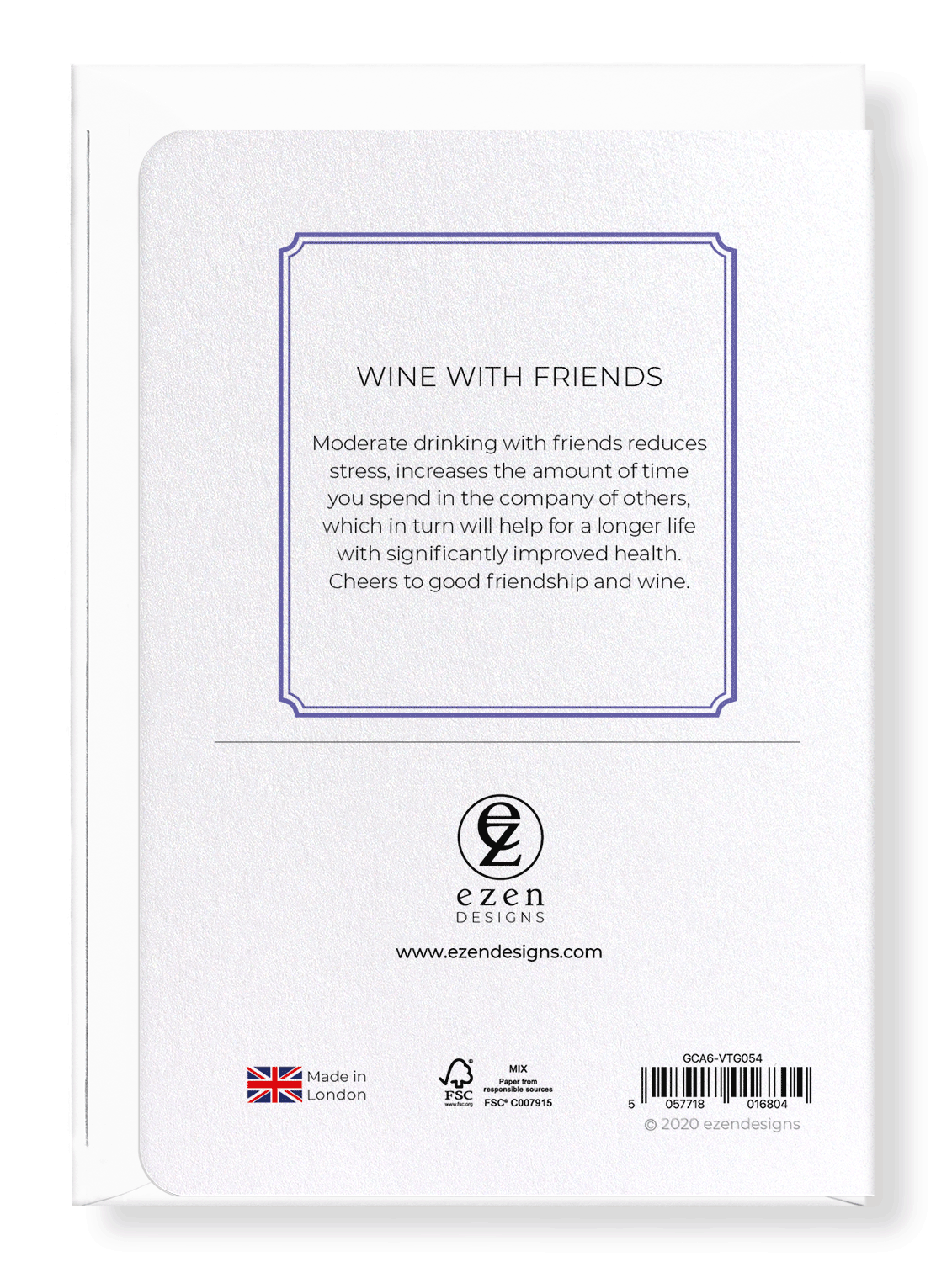Ezen Designs - Wine with friends - Greeting Card - Back