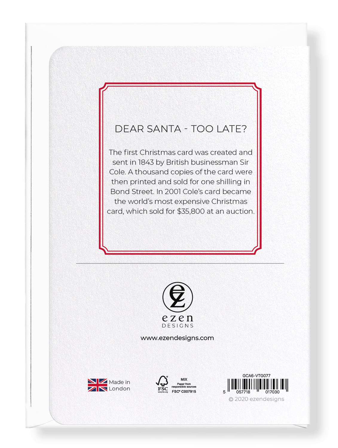 Ezen Designs - Dear santa - too late? - Greeting Card - Back