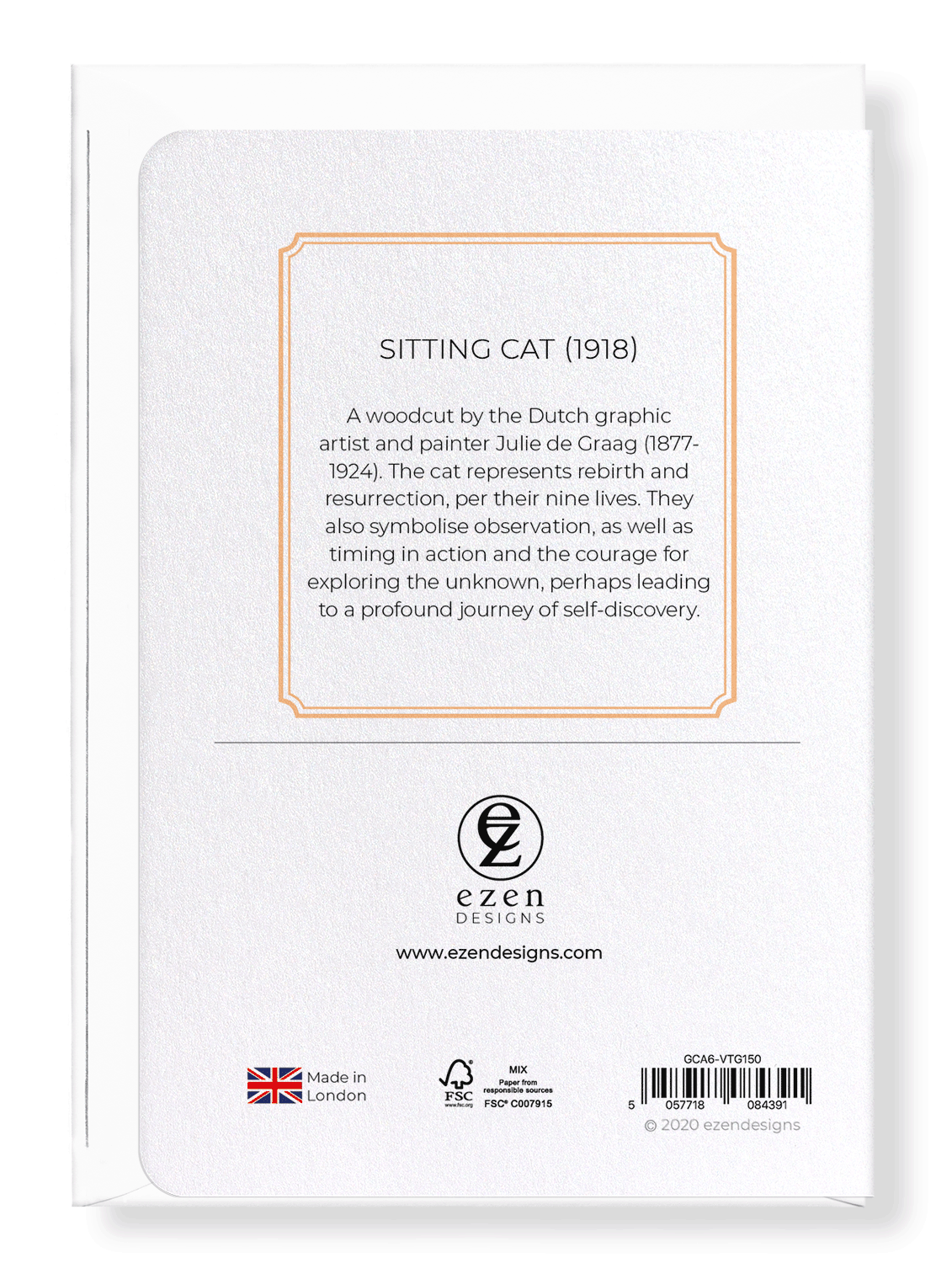 Ezen Designs - Sitting cat (1918) - Greeting Card - Back