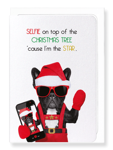 Ezen Designs - Selfie on christmas tree - Greeting Card - Front