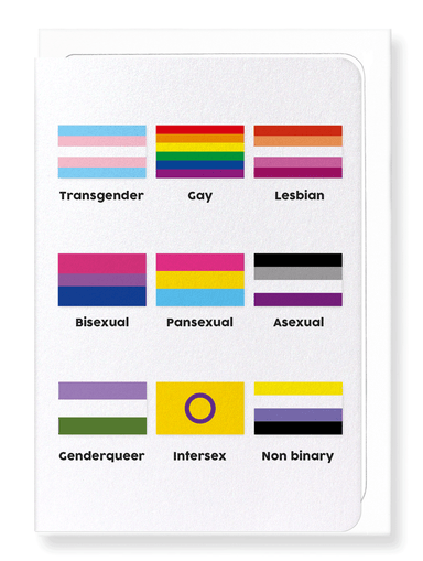 Ezen Designs - Table of LGBT pride flags - Greeting Card - Front