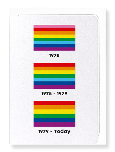 Ezen Designs - History of rainbow pride flag - Greeting Card - Front