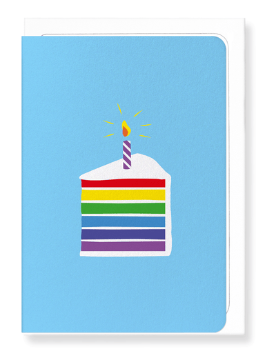 Ezen Designs - Rainbow cake in blue - Greeting Card - Front