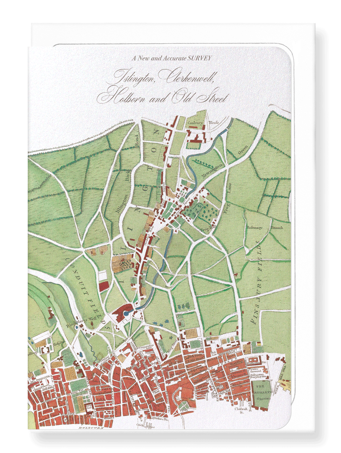 Ezen Designs - Islington map (1755) - Greeting Card - Front