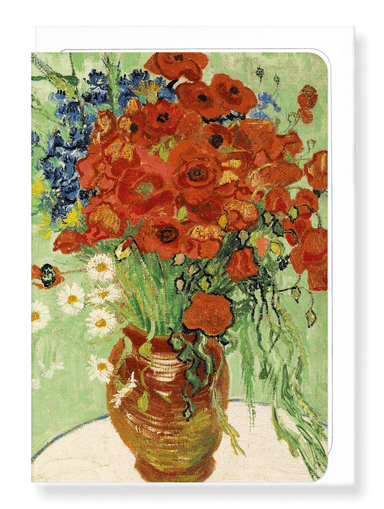 Ezen Designs - Vase with Daisies and Poppies (1890) - Greeting Card - Front