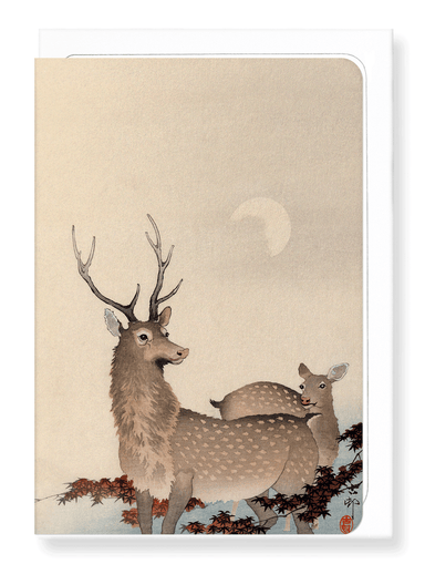 Ezen Designs - Two deer and maple - Greeting Card - Front