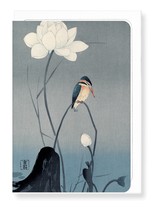 Ezen Designs - Kingfisher and lotus - Greeting Card - Front