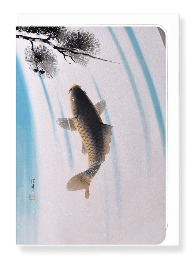 Ezen Designs - Carp and waterfall - Greeting Card - Front