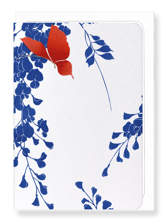 Ezen Designs - Red butterfly and wisteria - Greeting Card - Front