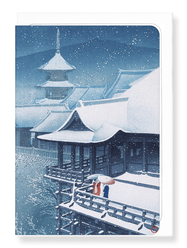 Ezen Designs - Snow at temple - Greeting Card - Front