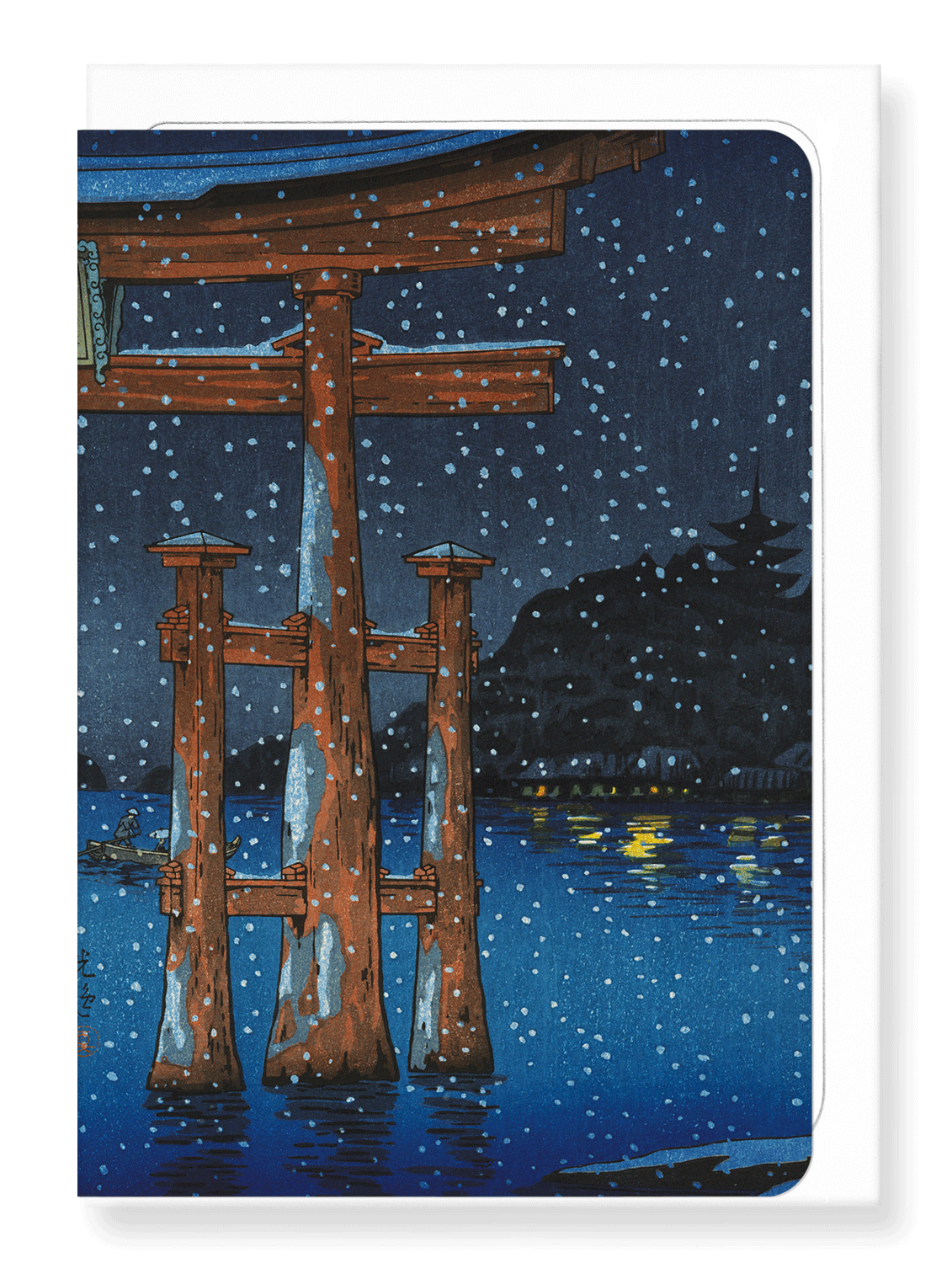 Ezen Designs - Miyajima snowy night - Greeting Card - Front