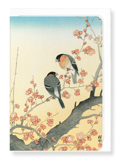 Ezen Designs - Bullfinches on flowering plum tree - Greeting Card - Front