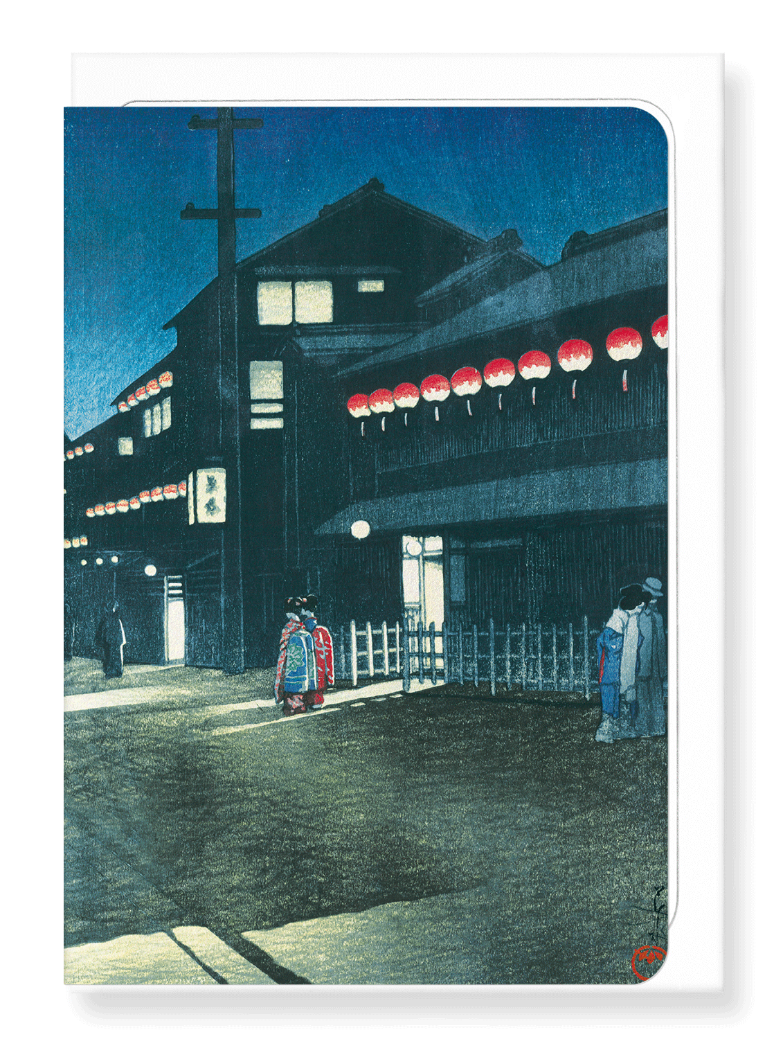 Ezen Designs - Evening at soemon-cho - Greeting Card - Front