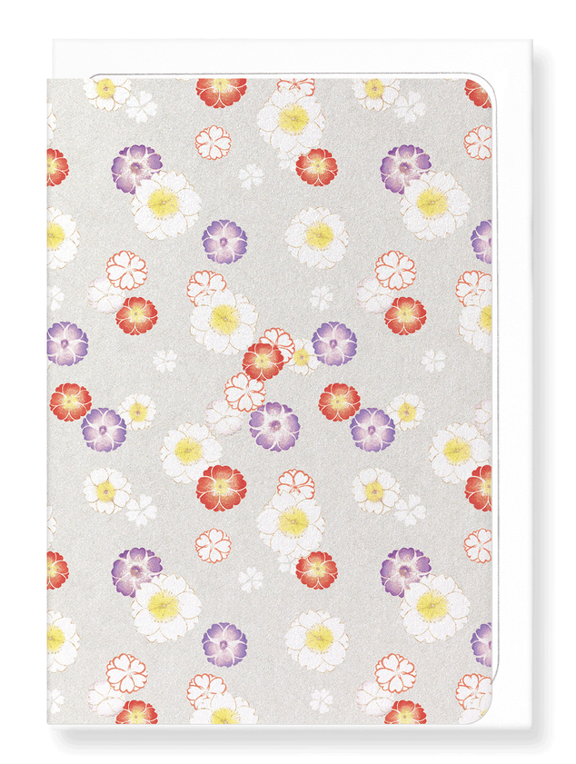 Ezen Designs - Cherry blossoms on silver - Greeting Card - Front