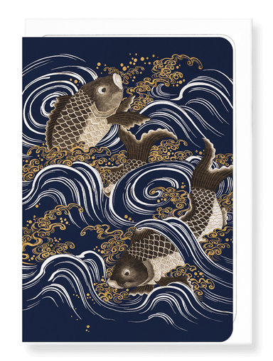 Ezen Designs - Carps in waves - Greeting Card - Front