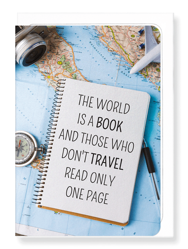 Ezen Designs - The world is a book - Greeting Card - Front