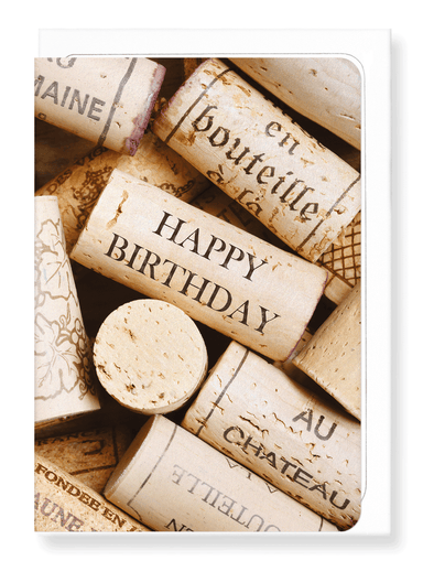 Ezen Designs - Birthday wine cork - Greeting Card - Front
