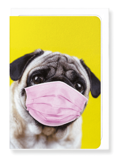 Ezen Designs - Pug mask - Greeting Card - Front