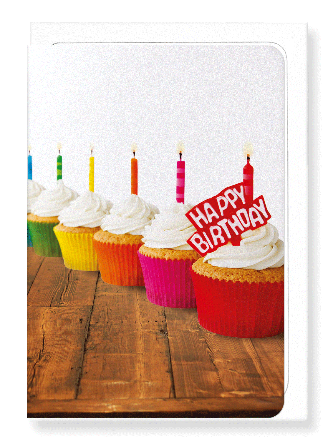 Ezen Designs - Rainbow of birthday cupcakes - Greeting Card - Front