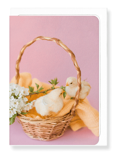 Ezen Designs - Two chicks and basket - Greeting Card - Front