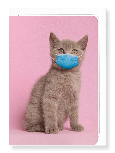 Ezen Designs - Kitten with mask - Greeting Card - Front