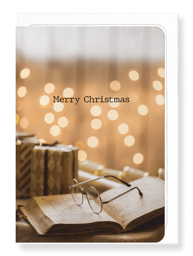Ezen Designs - Christmas book and glasses - Greeting Card - Front