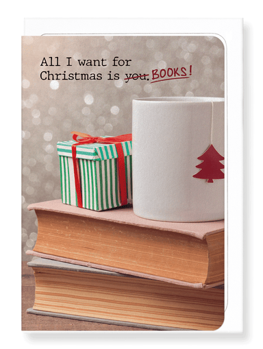 Ezen Designs - All I want is books - Greeting Card - Front
