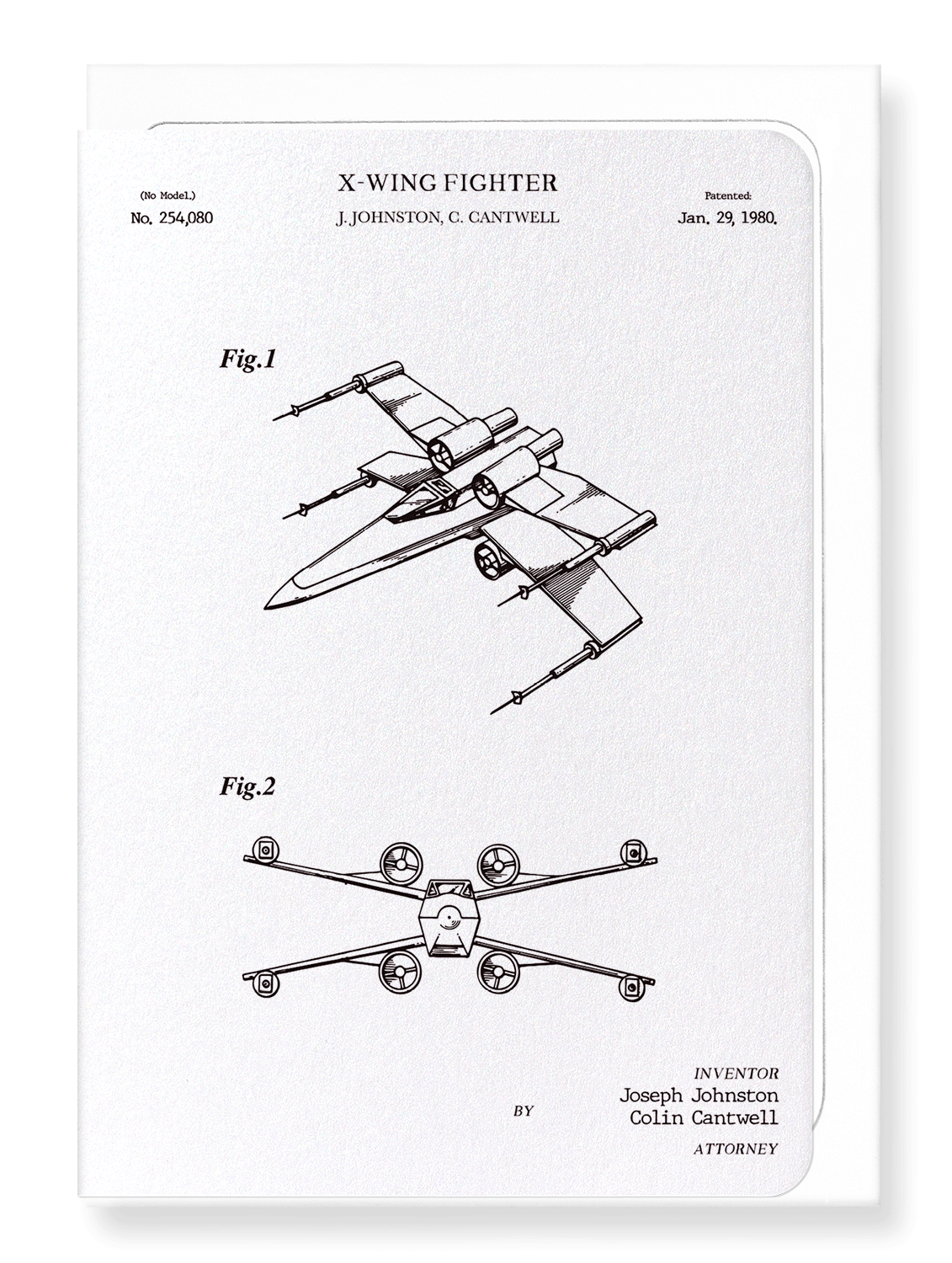 Ezen Designs - Patent of X-wing fighter (1980) - Greeting Card - Front