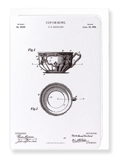 Ezen Designs - Patent of cup or bowl (1898) - Greeting Card - Front