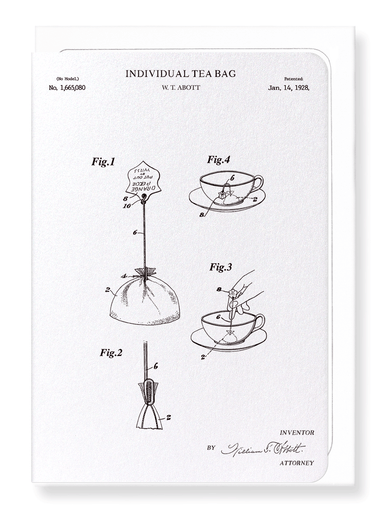 Ezen Designs - Patent of individual tea bag (1928) - Greeting Card - Front
