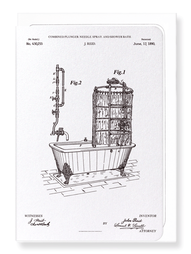 Ezen Designs - Patent of shower bath (1890) - Greeting Card - Front