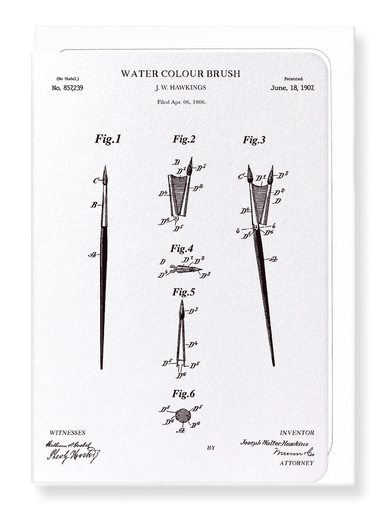Ezen Designs - Patent of water colour brush (1907) - Greeting Card - Front