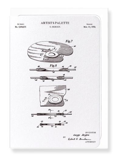 Ezen Designs - Patent of artist's palette (1950) - Greeting Card - Front