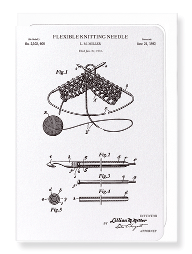 Ezen Designs - Patent of knitting needle (1937) - Greeting Card - Front
