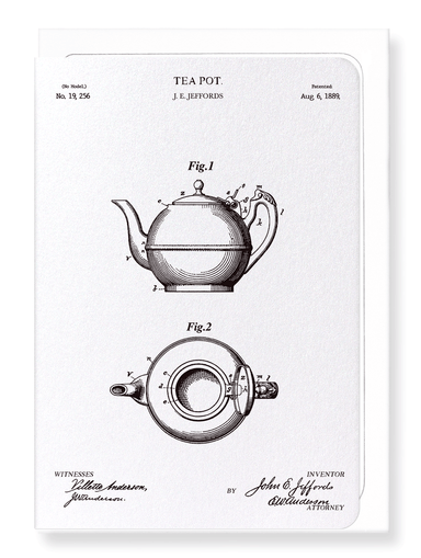 Ezen Designs - Patent of teapot (1889) - Greeting Card - Front