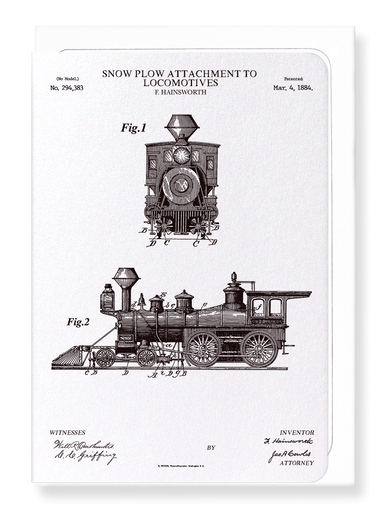 Ezen Designs - Patent of snow plow on locomotives (1884) - Greeting Card - Front