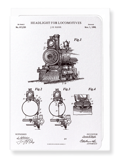 Ezen Designs - Patent of headlight for locomotives (1898) - Greeting Card - Front
